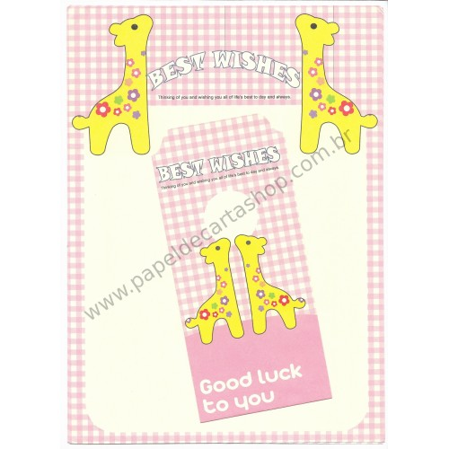 Conjunto de Papel de Carta Importado Best Wishes Giraffe CRS