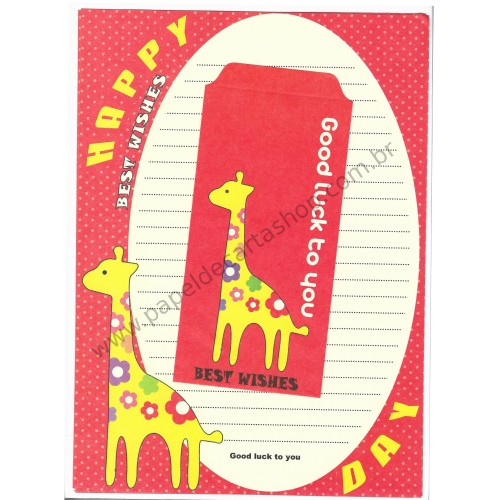 Conjunto de Papel de Carta Importado Best Wishes Giraffe CVM