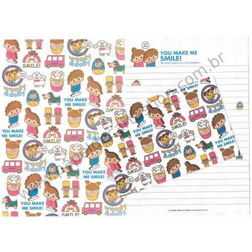 Conjunto de Papel de Carta Woody & Dolly Smile! - Art-Box Korea