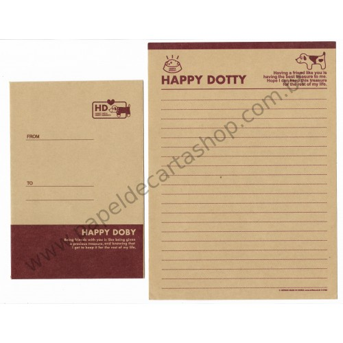 Conjunto de Papel de Carta HAPPY DOBY - Art-Box Korea