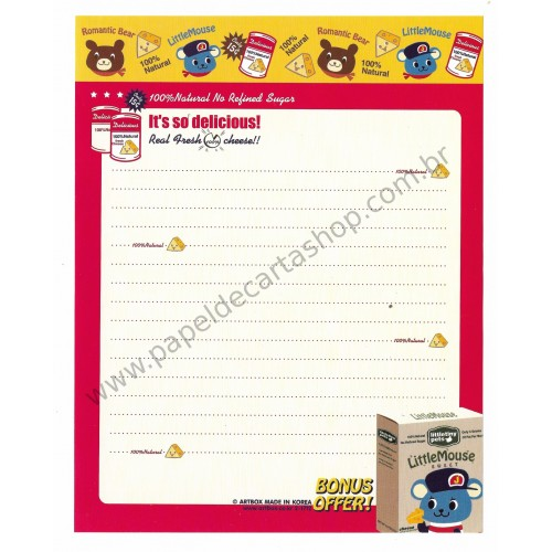 Papel de Carta AVULSO LITTLE MOUSE CVM - Art-Box Korea