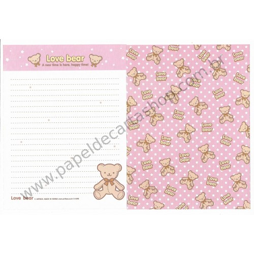 Papel de Carta AVULSO Love Bear - Art-Box Korea