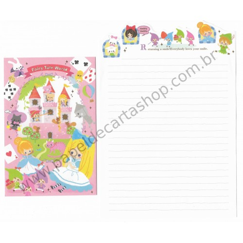 Kit 3 Conjuntos de Papel de Carta Wonderland Letter - Kamio Japan