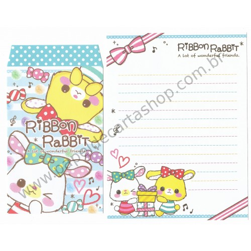 Conjunto de Papel de Carta Ribbon Rabbit - DAISO Japan