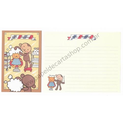 Conjunto de Papel de Carta Importado Osaru no Sanpatsuya - Japan