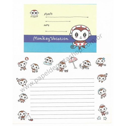 Conjunto de Papel de Carta Importado Monkey Vacation - Japan