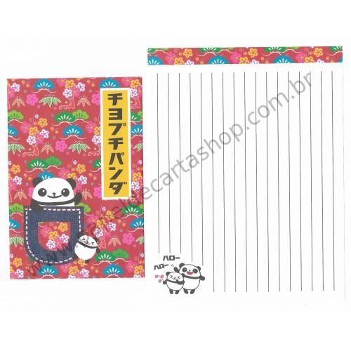 Conjunto de Papel de Carta Importado PANDA - Kamio Japan