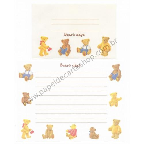 Conjunto de Papel de Carta Importado Bear's Days - Japan