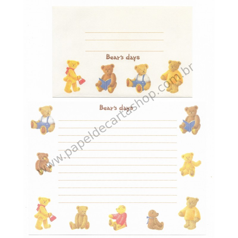 Conjunto de Papel de Carta Importado Bear's Days - Japan