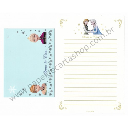Conjunto de Papel de Carta Disney FROZEN - Anna & Elsa Delfino