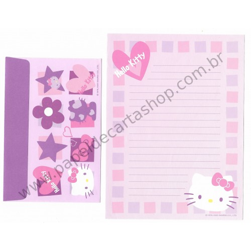 Ano 2005. Conjunto de Papel de Carta Hello Kitty CLR Sanrio