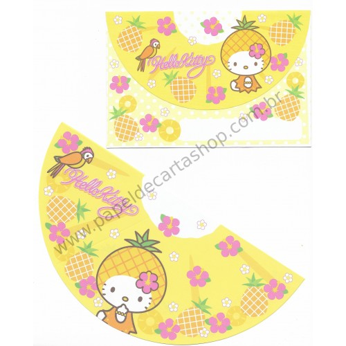 Ano 2007. Conjunto de Papel de Carta Hello Kitty Pineapple Sanrio