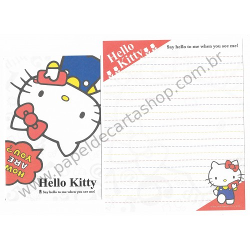 Ano 2008. Conjunto de Papel de Carta Hello Kitty Cell Phone Sanrio