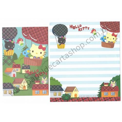 Ano 2007. Conjunto de Papel de Carta Hello Kitty Balloon Sanrio