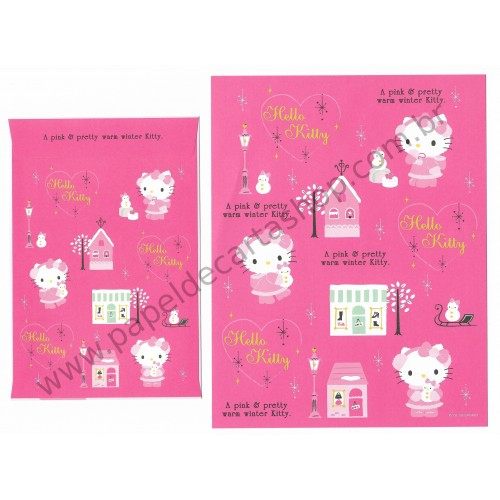 Ano 2009. Conjunto de Papel de Carta Hello Kitty Pink Winter Sanrio