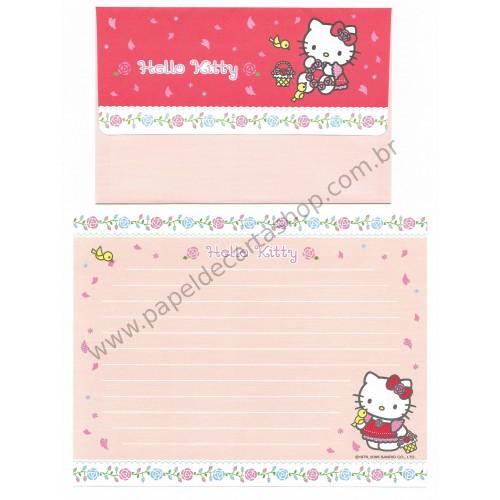 Ano 2006. Conjunto de Papel de Carta Hello Kitty Flower Basket Sanrio