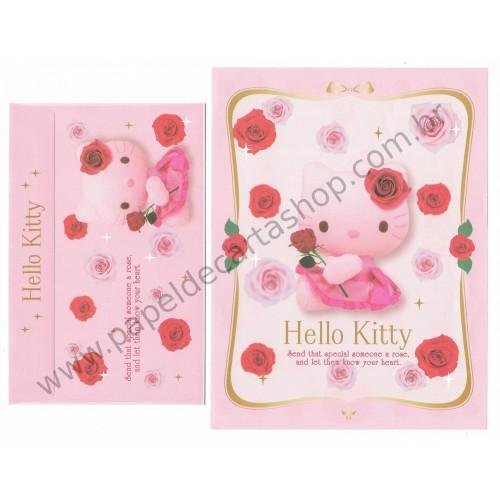 Ano 2008. Conjunto de Papel de Carta Hello Kitty Pink Sanrio