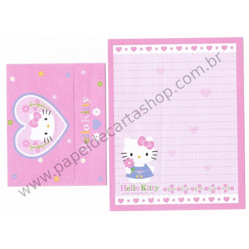 Ano 2006. Conjunto de Papel de Carta Hello Kitty Flower CRS Sanrio