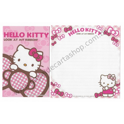Ano 2009. Conjunto de Papel de Carta Hello Kitty Ribbon CRS Sanrio