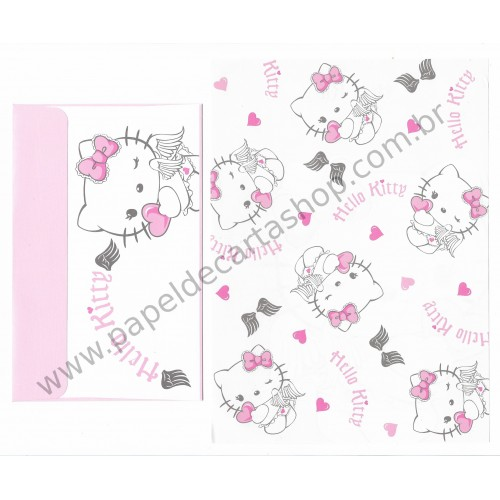 Ano 2007. Conjunto de Papel de Carta Hello Kitty Angel Sanrio