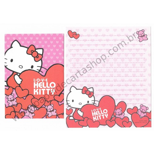 Ano 2008. Conjunto de Papel de Carta Hello Kitty Heart CRS Sanrio