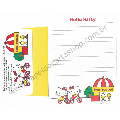 Ano 1999. Conjunto de Papel de Carta Hello Kitty Soda Fountain Sanrio