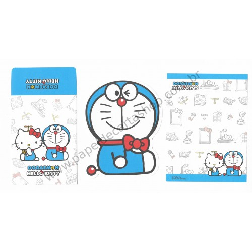 Ano 2016. Conjunto de Mini Papel de Carta DORAEMON & Hello Kitty CAZ Sanrio