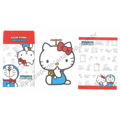 Ano 2016. Conjunto de Mini Papel de Carta DORAEMON & Hello Kitty CVM Sanrio