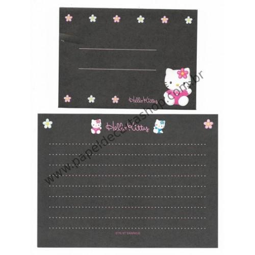Ano 1997. Conjunto de Mini Papel de Carta Hello Kitty Black Antigo (Vintage) Sanrio