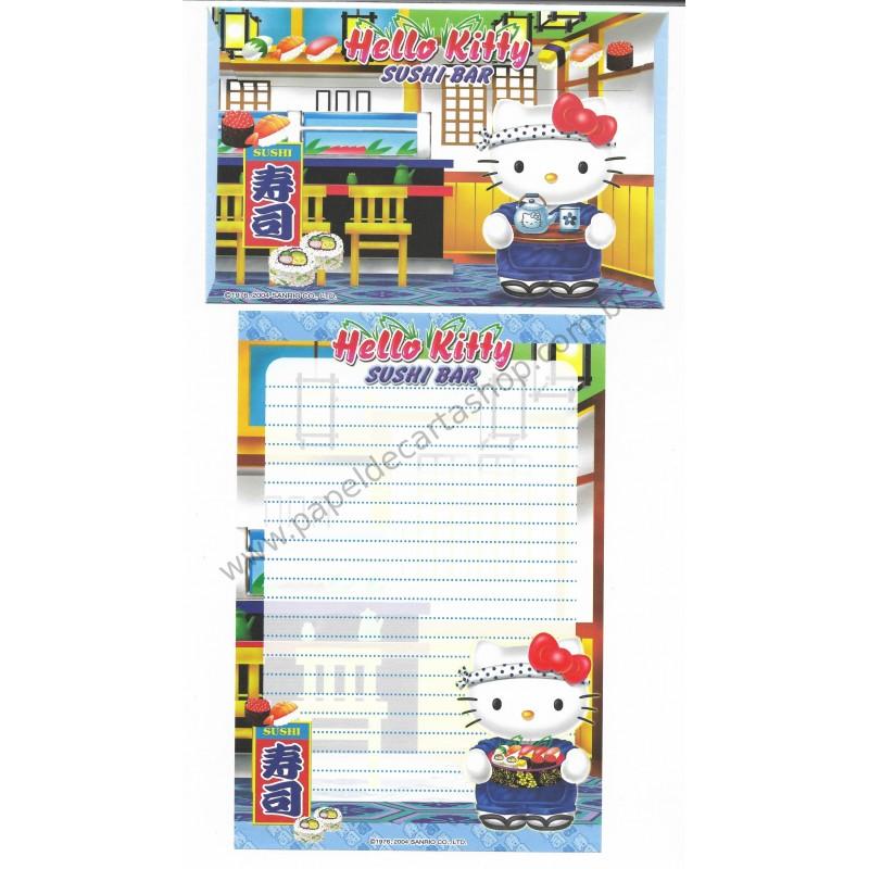 Ano 2004. Conjunto de Papel de Carta Gotōchi Kitty Sushi Bar Sanrio