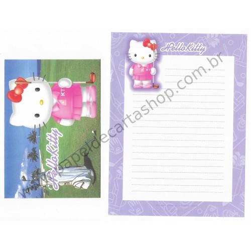 Ano 2002. Conjunto de Papel de Carta Hello Kitty Sport Golf Sanrio