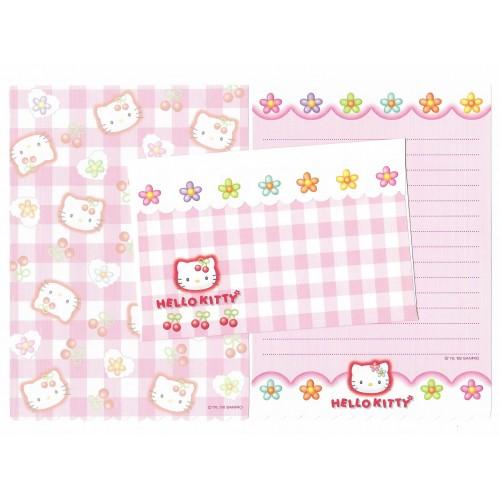 Ano 1998. Conjunto de Papel de Carta Hello Kitty Xadrez Dupla 1 (Vintage) Sanrio