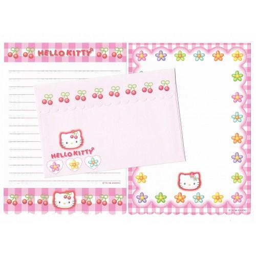 Ano 1998. Conjunto de Papel de Carta Hello Kitty Xadrez Dupla 2 (Vintage) Sanrio