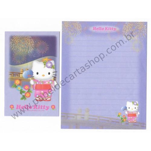 Ano 2000. Conjunto de Papel de Carta Gotōchi Kitty Regional 30 Sanrio