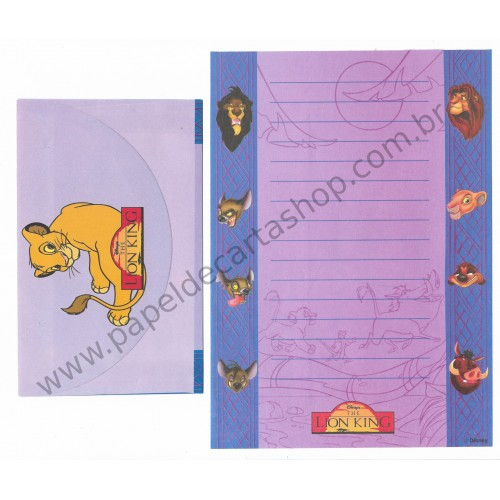 Conjunto de Papel de Carta ANTIGO Personagens Disney The LION KING