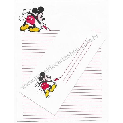 Conjunto de Papel de Carta Vintage Disney Mickey Mouse A4 CBR