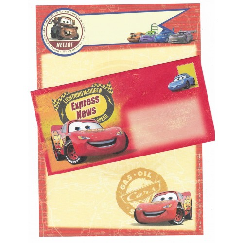 Conjunto de Papel de Carta Antigo Vintage Disney Pixar Cars (AM) - Creative Words