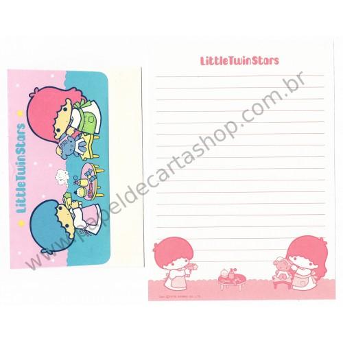 Ano 1976. Conjunto de Papel de Carta Little Twin Stars Antigo (Vintage) Sanrio