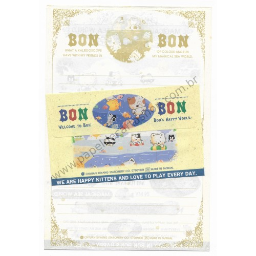 Conjunto de Papel de Carta Antigo (Vintage) Bon Bon Cat Bon's Happy World