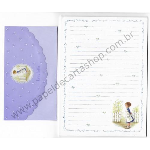 Conjunto de Papel de Carta Antigo Importado Fancy Flower - bsb Japan
