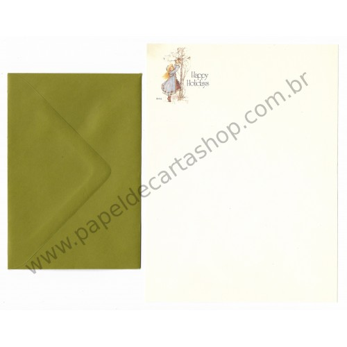 Conjunto de Papel de Carta ANTIGO Holly Hobbie M70