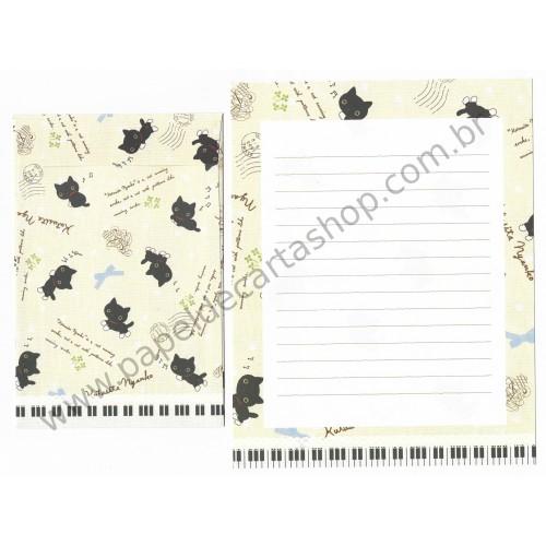 Conjunto de Papel de Carta Importado Kutusita Nyanko Piano 2 - San-X Japan