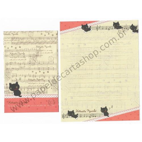 Conjunto de Papel de Carta Importado Kutusita Nyanko Piano 3 - San-X Japan