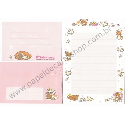 Conjunto de Papel de Carta Importado Rilakkuma Cute Cats - San-X