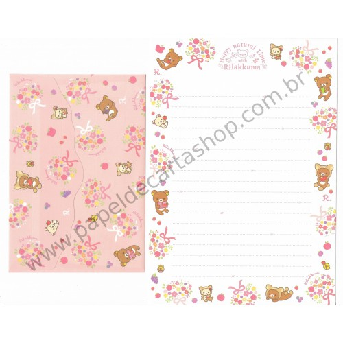 Conjunto de Papel de Carta Importado Rilakkuma Happy Natural Time - San-X