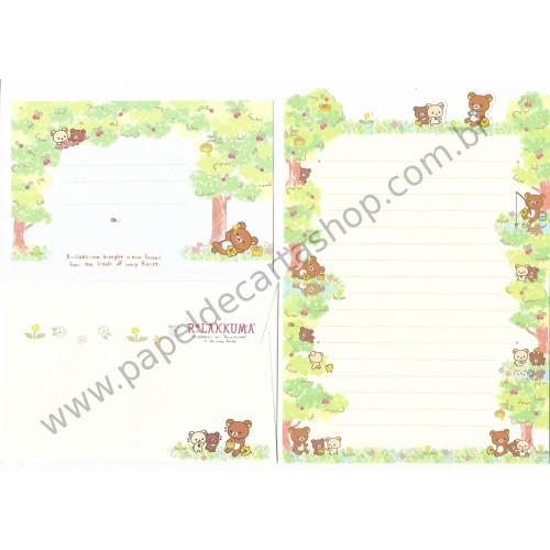Conjunto de Papel de Carta Importado Rilakkuma Inside the Honey Forest - San-X