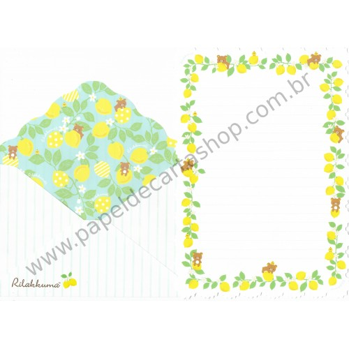 Conjunto de Papel de Carta Importado Rilakkuma A Basketful of Lemons - San-X