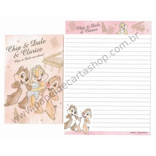 Conjunto de Papel de Carta Disney Chip & Dale & Clarice - Kamio Japan