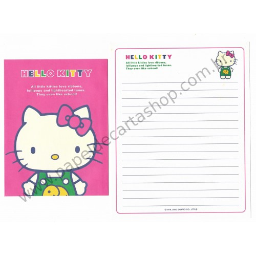 Ano 2000. Conjunto de Papel de Carta Hello Kitty Little Kitties Sanrio
