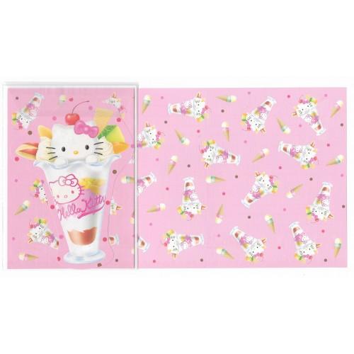 Ano 2002. Conjunto de Papel de Carta Hello Kitty Sundae Sanrio
